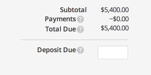 invoice deposit payment