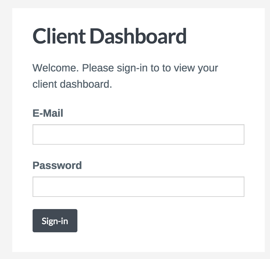 client dash sign in