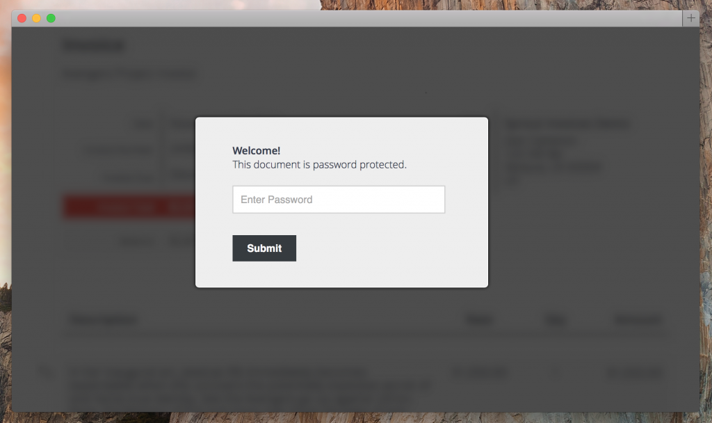 force password for estimates and invoices
