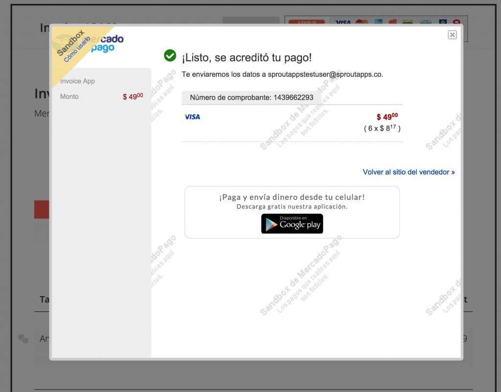 invoice paid by mercadopago