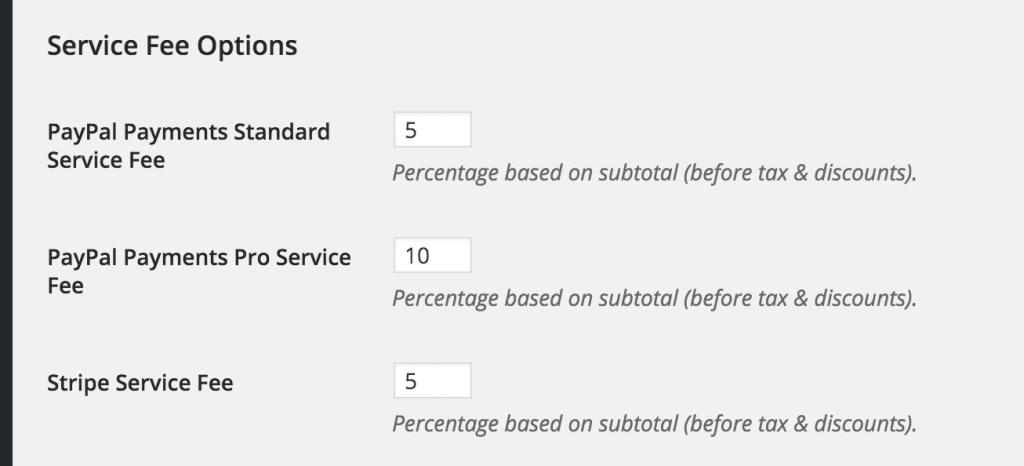 service fee options